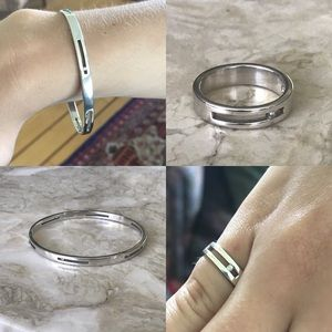 925 Sterling & Diamonds Solid Bangle & Ring